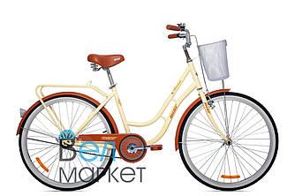 """Міський велосипед AIST AVENUE 1.0 26"""" колесо ( Бежево-коричневий) / з кошиком / Жіночий ЛЕЛЕКА Авеню"""