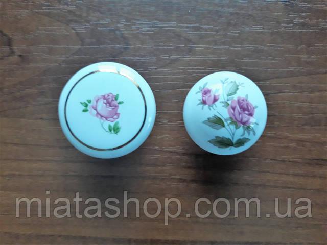 Мебельная ручка кнопка керамика , рисонок с цветком
