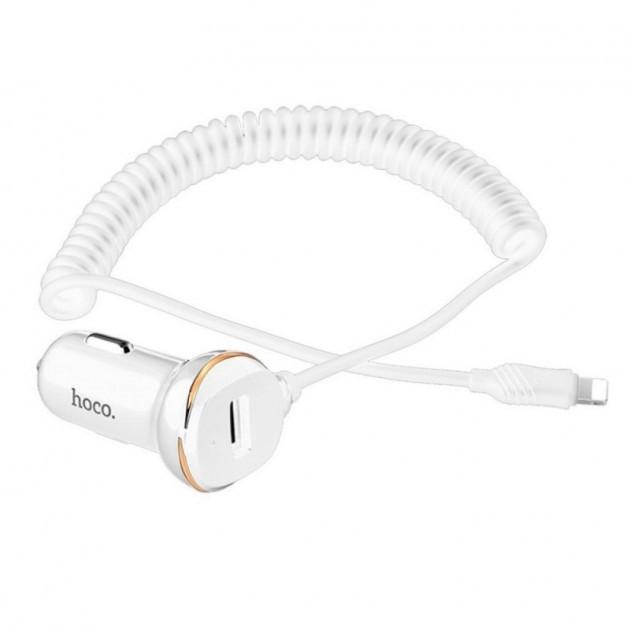 Автомобільний зарядний пристрій Hoco Z14 Charger + Cable (Lightning) автомобільна зарядка в прикурювач