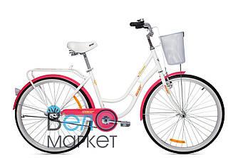 """Велосипед AIST AVENUE 1.0 26"""" 17"""" женский городской с корзиной Белый с розовым"""