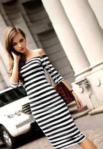 1b86b63d977 Купить Летнее платье миди тельняшка недорого