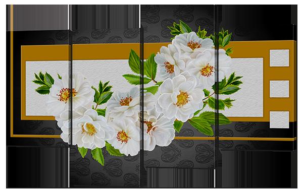 Модульная картина Interno Эко кожа Роза чайная 126x83см (A668L)