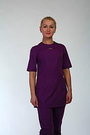 Медицинский костюм фиолетового цвета 22113 ( батист 42-60 р-ры )