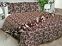 Постельное бельё, бязь GOLD, двуспальный с европростынью комплект, вензеля коричневые