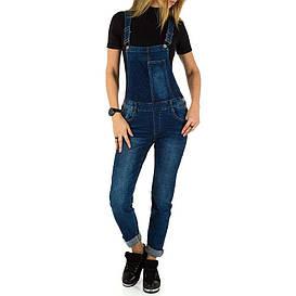 Женский потертый джинсовый комбинезон Laulia (Германия), Синий
