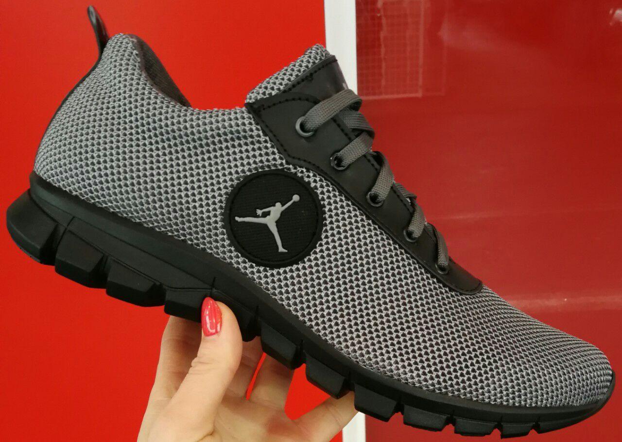 Jordan чоловічі сірі демісезонні кросівки сітка шкіряне взуття кроси осінні  весняні спорт репліка - VZUTA. 031f3378b5dad