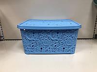 Корзина для вещей ажурная с крышкой голубая  ELIF 324