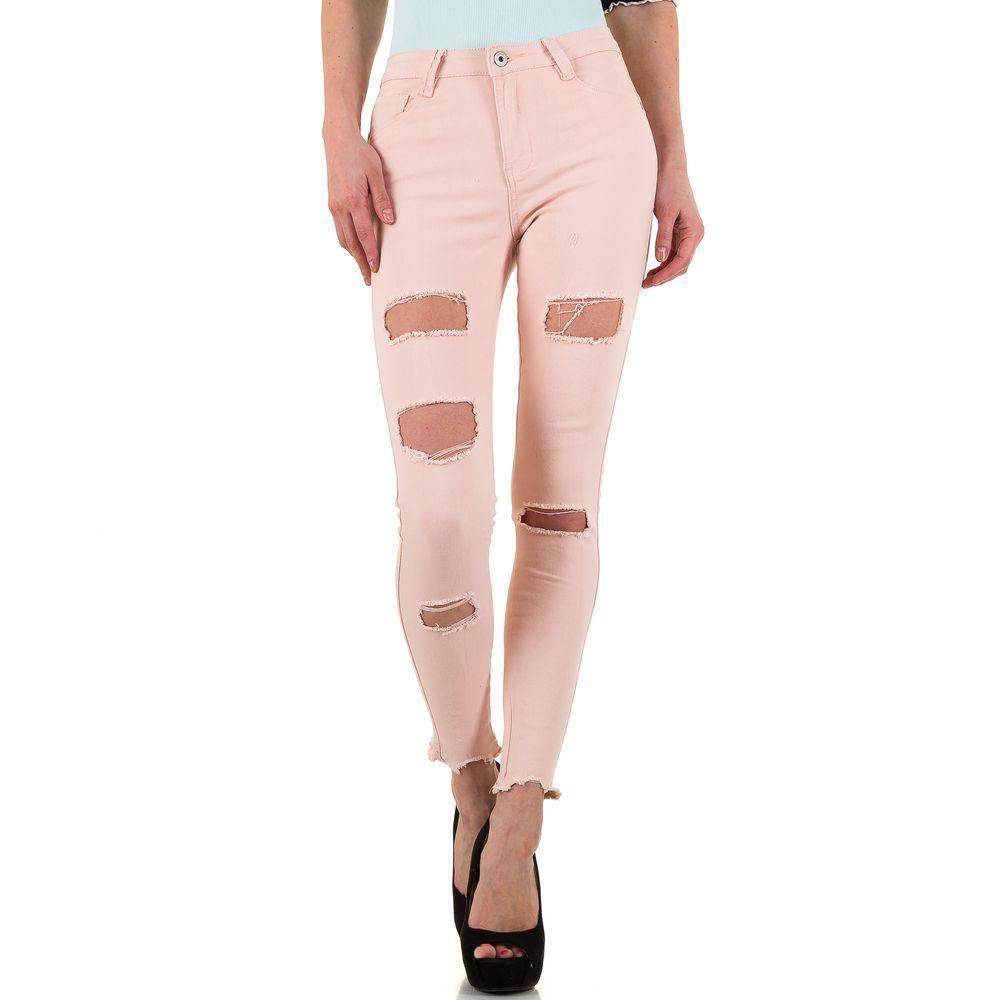 756f1aaf6568 Женские рваные джинсы с дырками Goldenim (Франция), Розовый купить оптом в  Украине - ...
