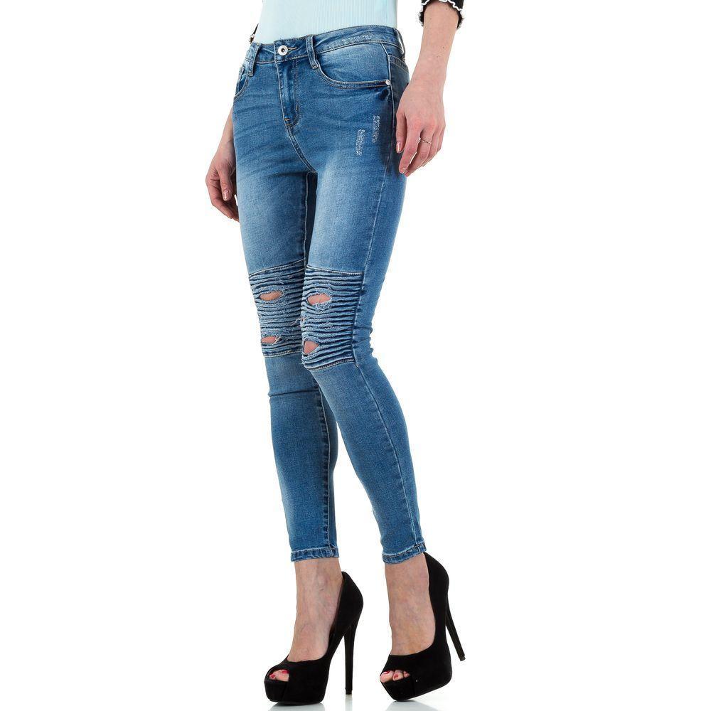 018f60d7dfc6 Женские байкерские джинсы с рваными коленями Goldenim (Франция), Синий  купить оптом в ...