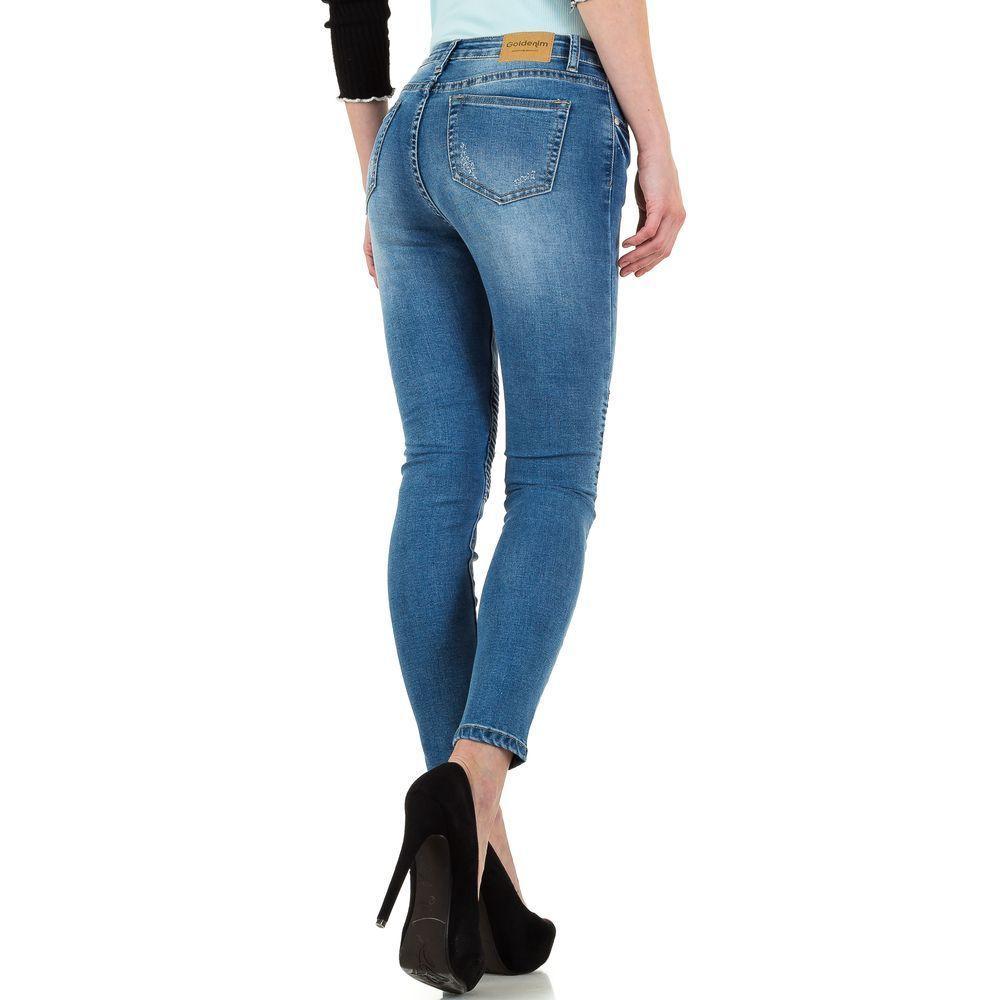 41d5a7bb4b68 Женские байкерские джинсы с рваными коленями Goldenim (Франция), Синий
