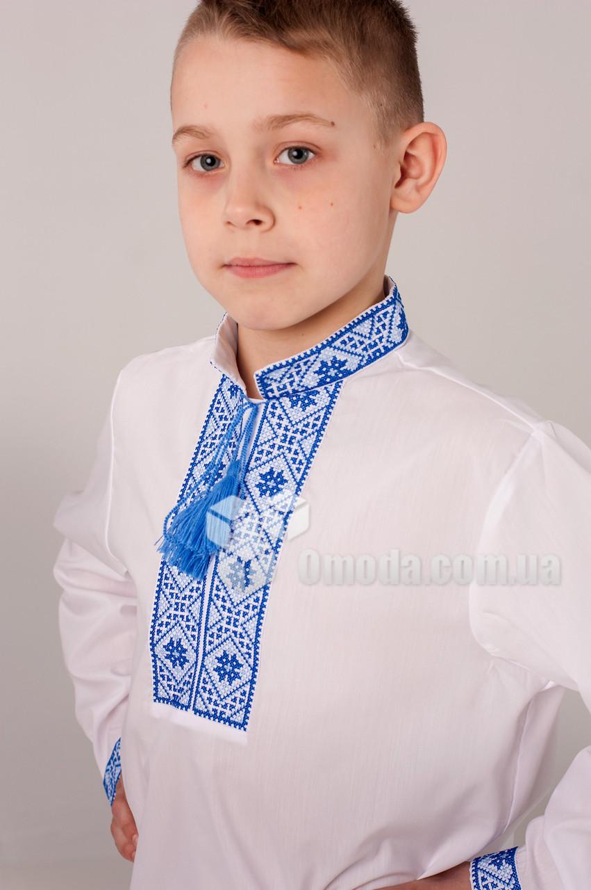 Вышиванка детская с геометричным орнаментом Федор Синий