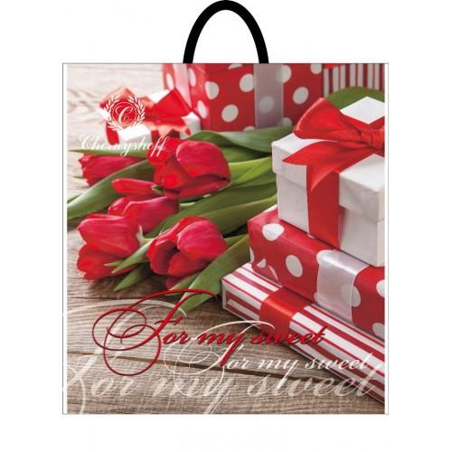Полиэтиленовый пакет с петлевой ручкой ''Подарок'', 400*420, 10 шт