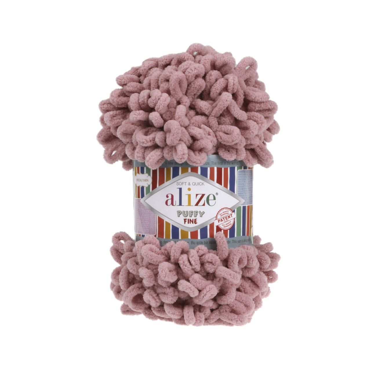 Alize Puffi Fine пуффи файн для вязания руками 295 сухая роза