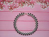 Колье, ожерелье, бусы чёрно-белые из бисера и бусин ручной работы