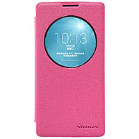 Кожаный чехол книжка Nillkin Sparkle для LG Spirit розовый, фото 1