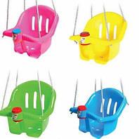 Качеля для ребенка подвесная пластиковая с клаксоном до 20 кг. Орион +ПОДАРОК