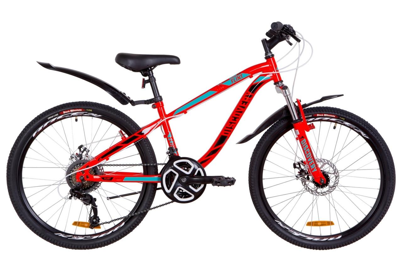 """Велосипед Discovery FLINT AM DD 24"""" 2019 красно-бирюзовый с черным"""