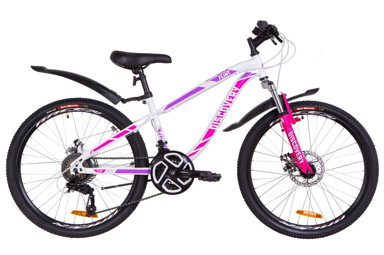 """Велосипед Discovery FLINT AM DD 24"""" 2019 бело-малиновый"""