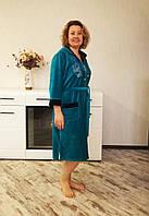 Халат женский велюровый с вышивкой бабочки большие размеры, фото 1