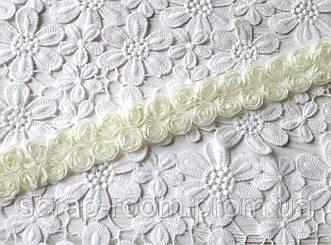 Лента шифоновая молочная, шифоновая лента розы, нежно-лимонная шифоновая лента, цена указана за 45 см