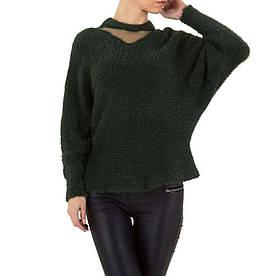 Женский свитер травка с рукавами летучая мышь Voyelles (Италия), Темно-зеленый