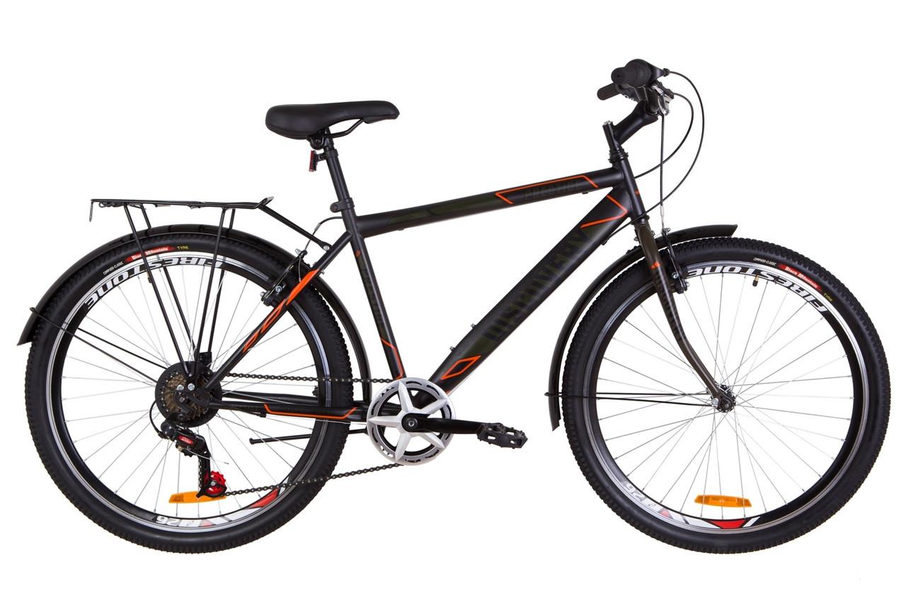 """Велосипед Discovery PRESTIGE MAN 26"""" 2019 черно-оранжевый хаки"""