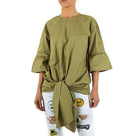 Женская удлиненная блузка с завязками спереди  (Европа) Оливковый