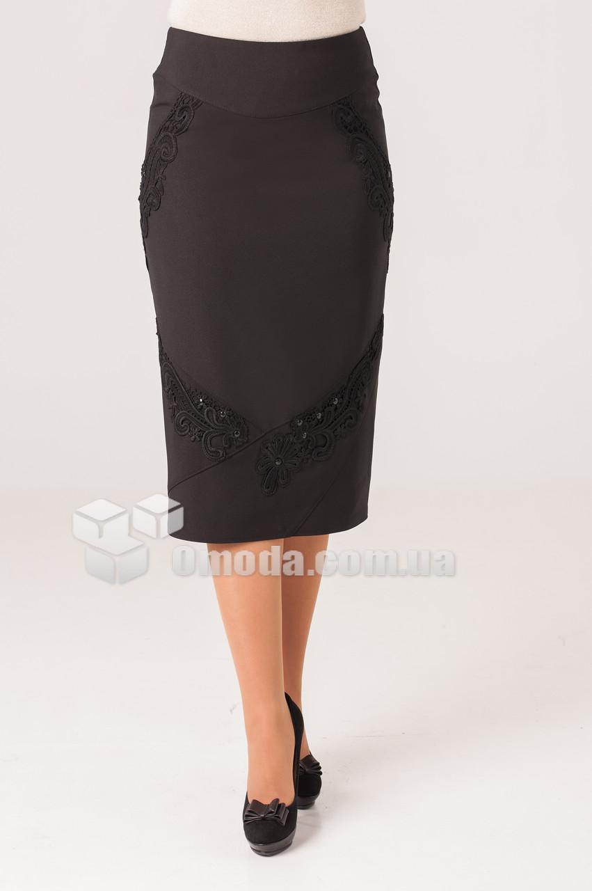 Женская прямая юбка  Ева черного цвета