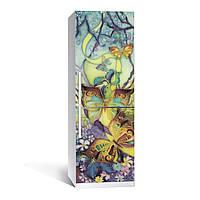 Наклейка виниловая на холодильник Батик двухслойная (полноцветная печать, декор холодильника, бабочки)
