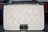 Женская сумка клатч Chanel Boy (Шанель Бой) 9801 бежевая с серебром