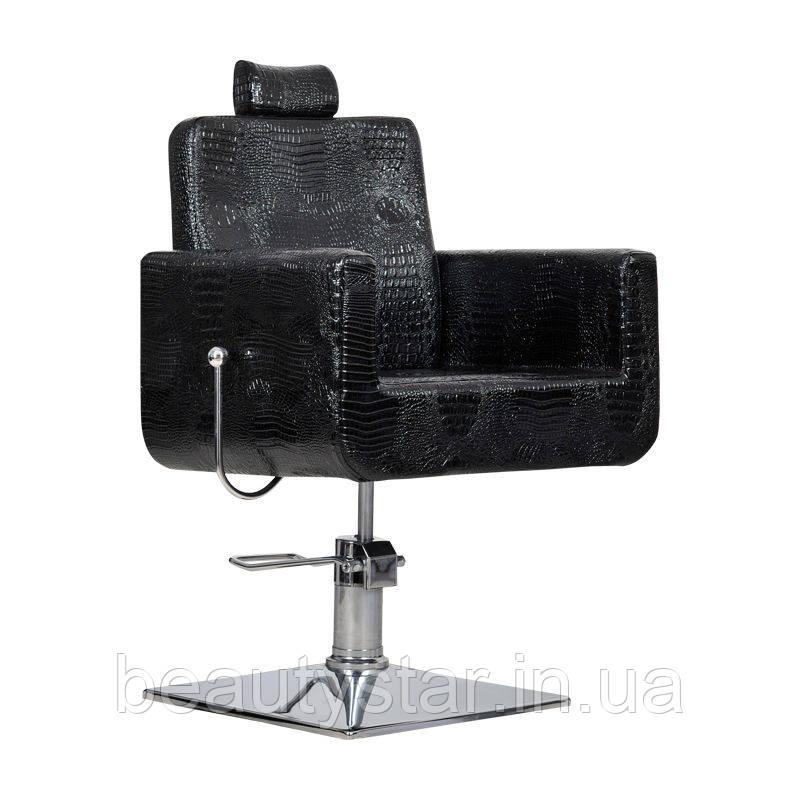 Парикмахерское кресло с подголовником Bell bis черный крокодил