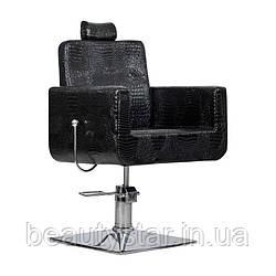 Перукарське крісло з підголовником Bell bis чорний крокодил