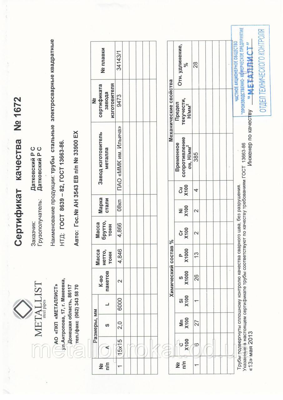 Сертифікат труба 15х15