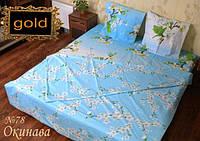 Двуспальное постельное белье Голд - на голубом белые цветы