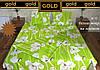 Постельное двуспальное белье Голд - на салатовом белые цветы