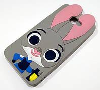 Чохол дитячий для Samsung Galaxy J5 Prime G570f силіконовий об'ємний іграшка зайчик Джуді сірий