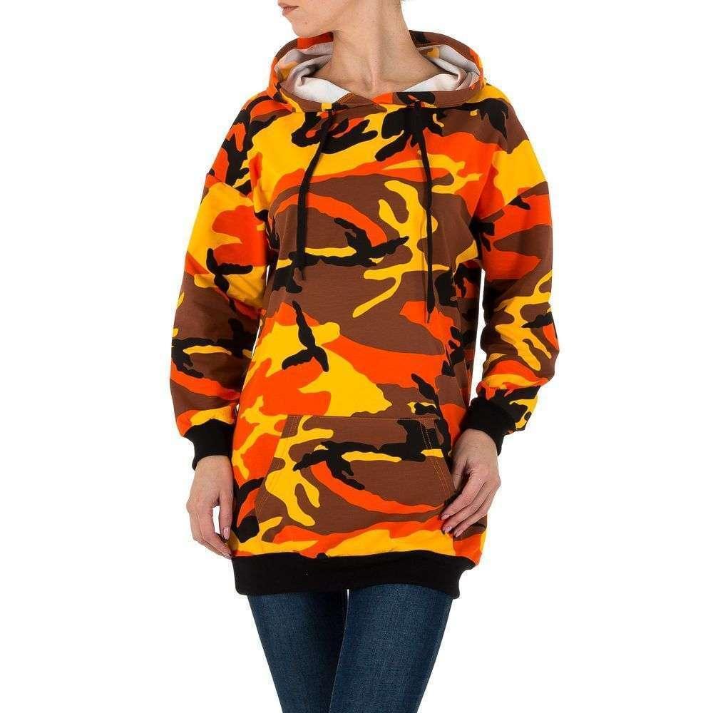 Женское худи с карманом спереди (Европа), Камуфляжный/Оранжевый