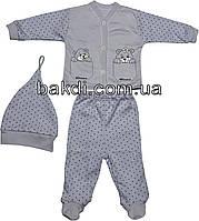 Детский костюм рост 56 (0-2 мес.) интерлок сиреневый на мальчика/девочку (комплект на выписку) для новорожденных С-955