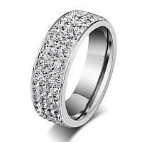Женское  кольцо из ювелирной стали Swarovski Elements стальное 7мм