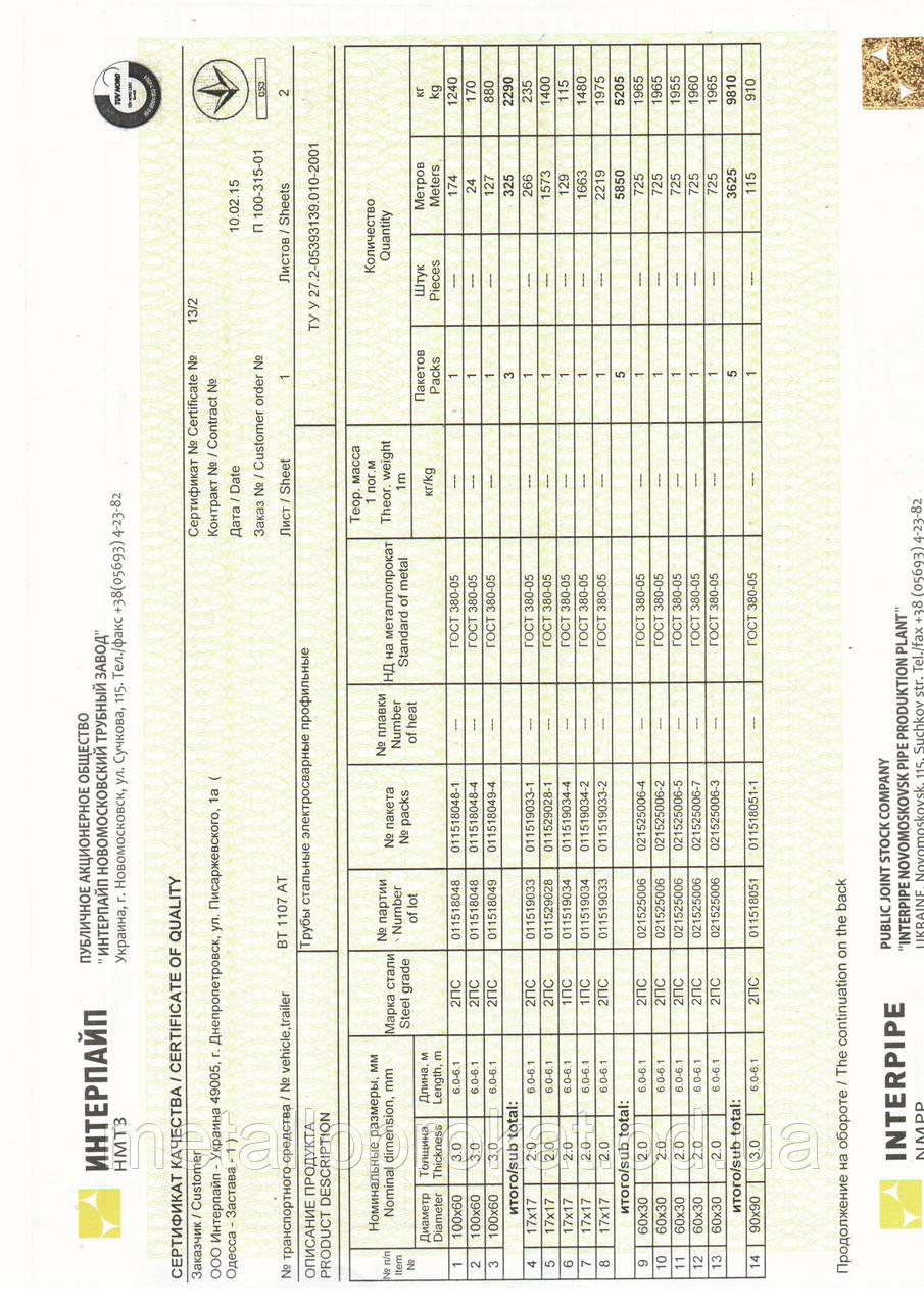Сертифікат труба 17х17
