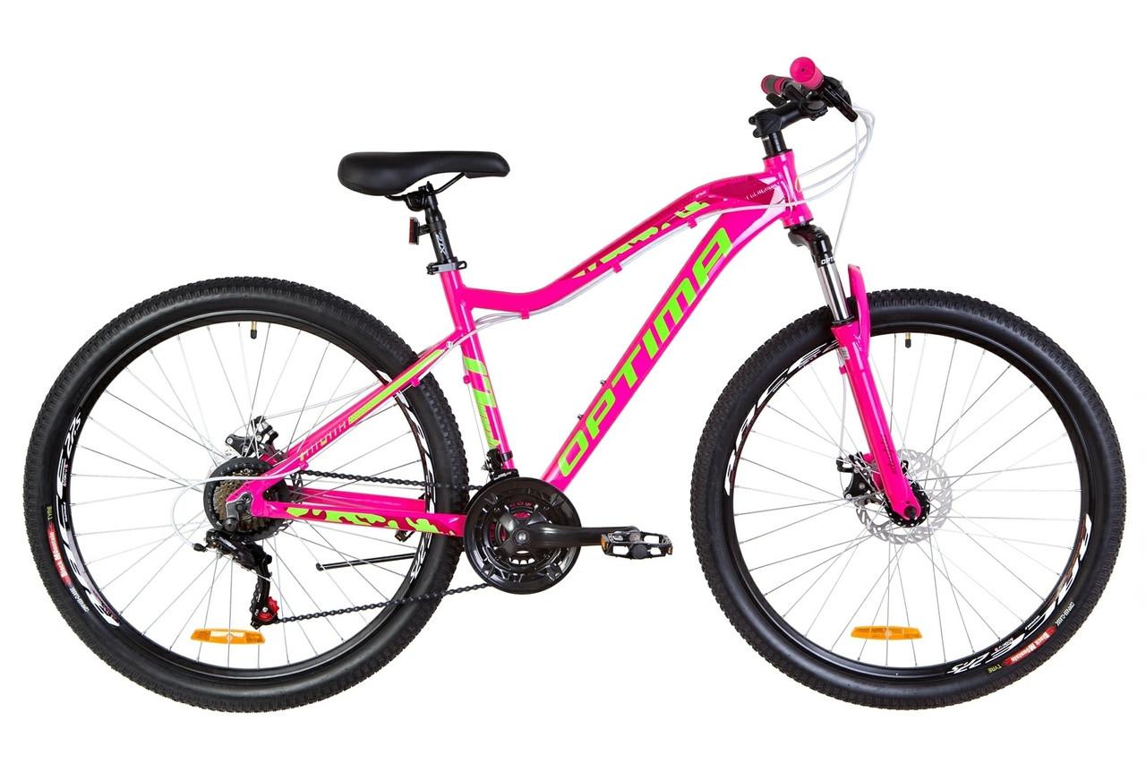 """Велосипед Optimabikes ALPINA DD 27.5"""" 2019 малиновый с салатным"""