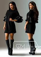 Платье с рукавами-воланами из кожзама