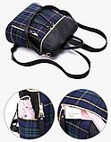 Сумка-рюкзак нейлон чорно-синій, фото 3