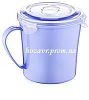Чашка пластиковая для супа с крышкой и клапаном для разогрева в микроволновке 0,7л