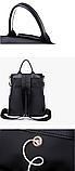 Сумка-рюкзак нейлон чорно-синій, фото 5