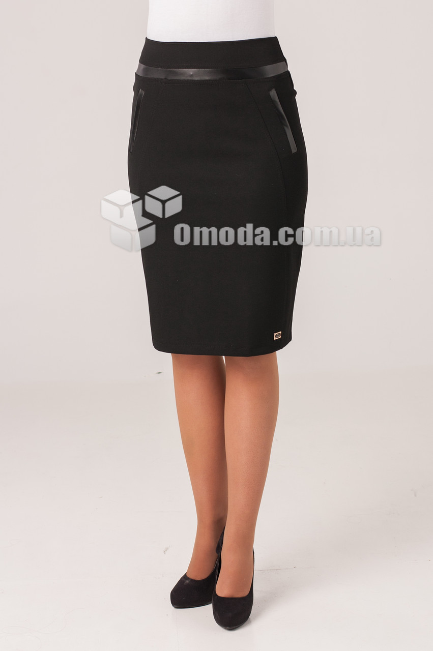 Молодежная юбка с завышенной талией Жасмин черного цвета