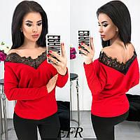 387a4babf2e Трикотажная блузка с открытыми плечами и вставкой гипюра в расцветках 1704