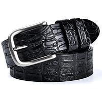 Мужской кожаный ремень из воловьей кожи с тиснением черный