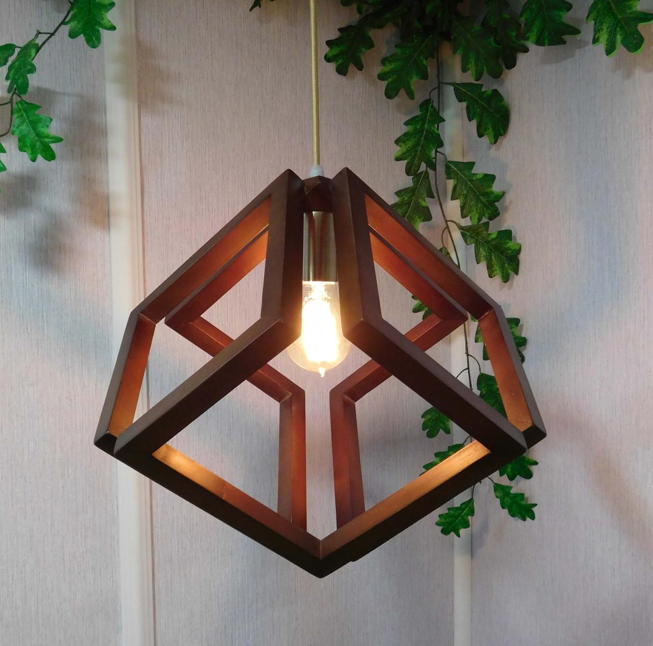 подвесной светильник из первосортного дерева современный стиль бесконечный контур квадрата продажа цена в николаеве люстры от Lightstock