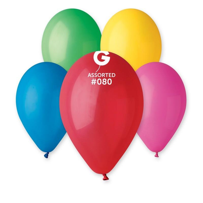 Латексные воздушные шары G90 Gemar Италия, расцветка: пастель ассорти, Диаметр 10 дюймов/26 см, 100 штук в упа